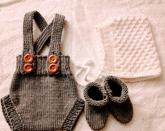Gray/Brown Hand-Knit Diaper Cover/Shorts with Suspenders for 9-12 month infant  - Free Shipping