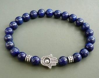 Lapis Lazuli Hamsa Bracelet Women bracelet Genuine Lapis Lazuli beads Natural Gemstone Bracelet Lapis Men Bracelet mens beaded blue bracelet