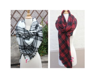 New Lady Blanket Oversized Tartan Scarf Wrap Shawl Plaid Multi Color –White Black Blue Red Checked