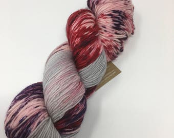 Indie Dyed Yarn on Merino cashmere Nylon MCN Gray pink purple speckled red