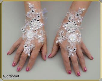 White Wedding Gloves Lace Gloves Party Gloves Fingerless Gloves Bridal Gloves Formal Gloves Evening Gloves