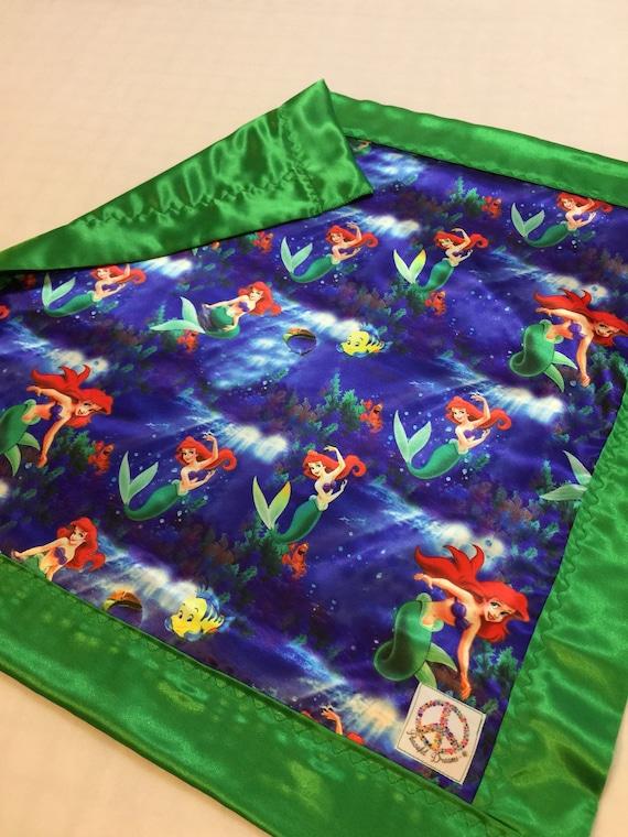 Disney little mermaid silky blanket, Baby blanket, Silky blanket, Stroller blanket, Lovey, silky, Homemade.