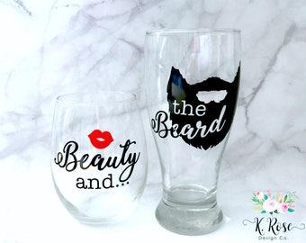 Beauty and the Beard Glass Set | Couples Glass Set | Couples Gift Set | Beauty and the Beard | Beauty | Beard