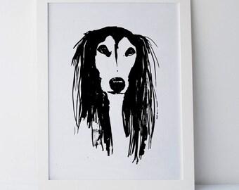 Dog sketch, ink illustration, modern art poster