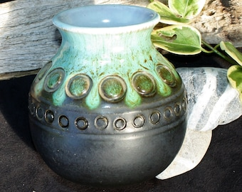 Eric Juckert Australian Studio Pottery Vase - Gunmetal and Green