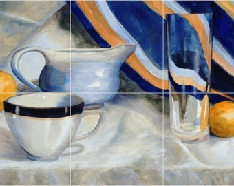 12 x 18 Ceramic Tile Mural Backsplash Tea Time Still Life #485