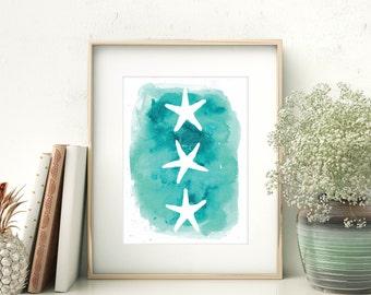 Watercolor Print, Sea Star Decor, Starfish Art Print, Seastar Prints, Aqua Art Print, Sea Star Art, Nursery Wall Art, Coastal Decor Beach