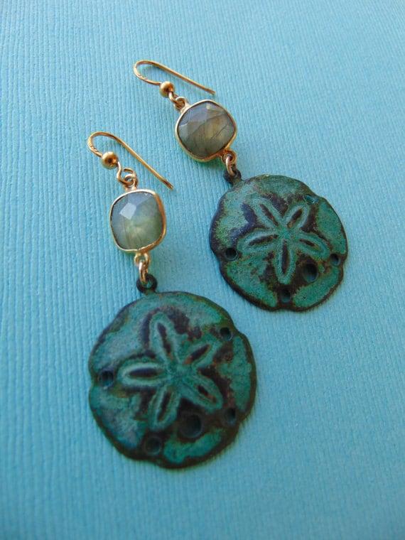 Vedigris Brass Sand DollarAnd Labradorite Earrings