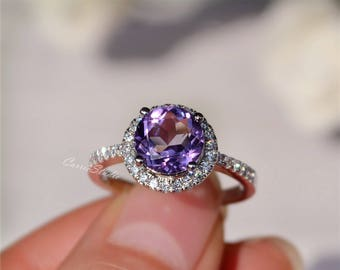 8mm natural amethyst ring amethyst engagement ring wedding ring 925 sterling silver ring anniversary ring - Amethyst Wedding Rings