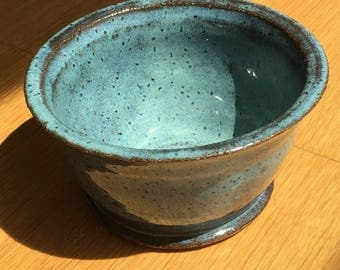 Blue bowl with gritty clay