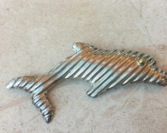 Vintage Dolphin Sterling Silver Brooch pin Mexico artisan made hallmarked 925 silver