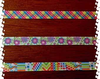 3/8 Wide Custom Made Pick Your Girly Patterns Grosgrain Cat Collar