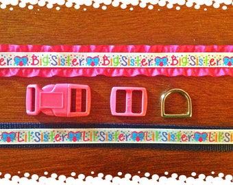 5/8 Wide Custom Made Adjustable Sister Patterns Grosgrain Dog Collar