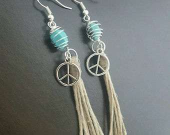 Turquoise Earrings with  hemp tassel Hippie Boho Stone Wire Wrap