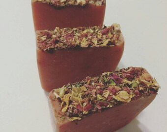Organic Soap/Rose Soap/Rose  Bar Soap/Pink Rose Petal Soap/Handmade Soap/Vegan Soap/Cold Process Soap/Spring Sale/Gift/Flower Soap