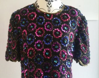 Vintage embellished scalloped top
