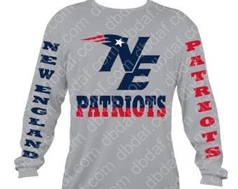 Patriotic Patriots Long Sleeve Vinyl Design with Vinyl Letters on Sleeve