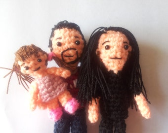 Portrait family dolls 3, Personalized fabric doll, mini-me stuffed doll, portrait doll, selfie doll, amigurumi doll, Custom gift collection