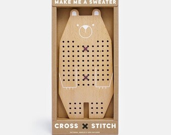Cross Stitch Friends - Bear | Cross-stitch Kids Craft Kit, DIY Beginner Embroidery Kit, wooden toy with wool yarn, needle & patterns
