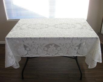 Antique Ecru Floral Scroll Tablecloth Oblong 1960s Era