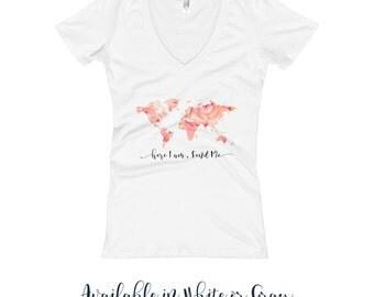 Ladies Women's V Neck Shirt | JW | SKE Gift Present | Pioneer | Elder's | Here I am Send me | World Map | Coral