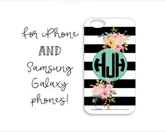 Black, White and Floral Monogram Tough iPhone Case, Black, White and Floral Monogram Tough Samsung Galaxy case, Tough Phone Case