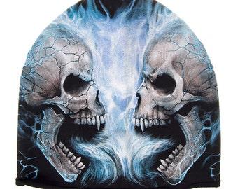 BEANIE HAT Ski Hat SKULLS Fire  Goth Emo metal Biker Alternative