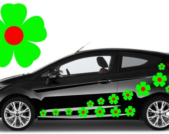 32,green & red flower car decals,stickers in three sizes