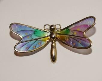 """Vintage Custom Dragonfly 2"""" x 1"""" inch Brooch."""