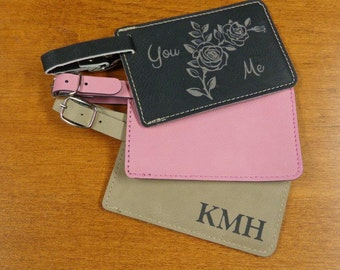1 Personalized Leather Luggage Tags Light Brown or Dark brown,