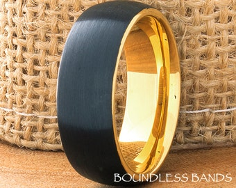 Tungsten Ring Black And Yellow Dom Mens Ring Mens Wedding Band 8mm His Hers Comfort Fit Anniversary Promise Wedding Ring Mens Woman's Ring