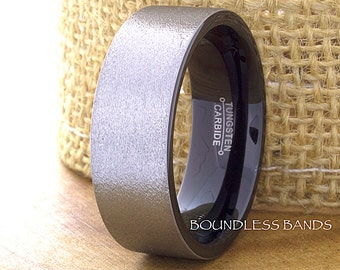 Tungsten Ring Tungsten Wedding Ring Men Women Wedding Band Promise Anniversary Engagement 9mm Black Gray Matching Ring Set Flat Satin Finish