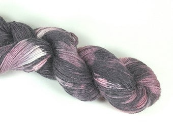 Hand Dyed Yarn, Alpaca and Silk- Lavender Cosmo colorway