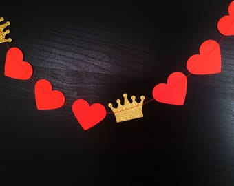 QUEEN OF HEARTS Paper Hearts Garland - Valentine's Day, Wedding, Engagement, Party, Shower, Room decoration