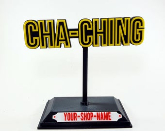 Cha-Ching Personalized Desk Trophy with Custom Shop Name Tag and Base - Etsy Help - SEO Help - Etsy Sellers - Easter Gift