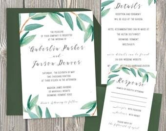 Eucalyptus Wedding Invitations, Contemporary Font Wedding Invitation, Garden Wedding Invitation, Watercolor, Greenery Wedding - 062-Anberlin