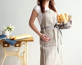 SALE Traditional Full Grey Linen Apron with pockets