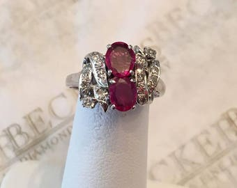 Beautiful Antique Art Deco Platinum ring with 2 Oval Rubies and 16 Diamonds, 1.36 tw IJK-SI2-I1, size 5.5, with a Filigree & Ribbon Top