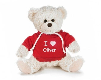 Personalized Snuggle Teddy Bear with Red Hooded Shirt, 11 inch