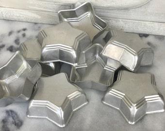 Set of Eight Vintage Baking Molds / Star Baking Molds / Vintage Jello Molds / Vintage Aluminum Molds