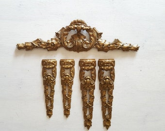 Ormolu furniture pediment mount set. Ornate laurel. Antique French bronze salvage hardware