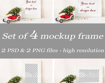 Christmas Tree on Red Vintage Car Set Styled Stock Photography Frame Mockup Download Bundle Empty  Product Digital Background