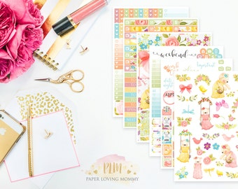 Spring Time Weekly Kit | Planner Stickers | Floral Stickers | Planner Stickers designed for use with the Erin Condren Life Planner