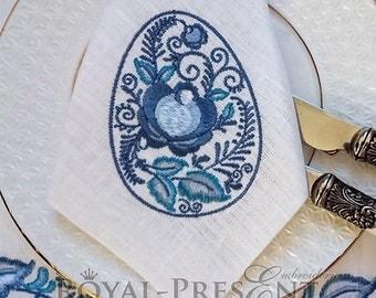 Machine Embroidery Design Gzhel Easter Egg