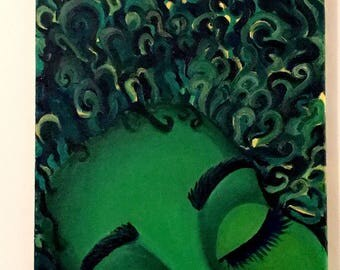 "Black Art - Afro Art - natural hair art- curly hair- black woman- ""DAYDREAMING"""