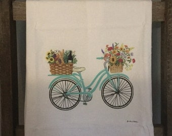 Summer Bicycle Ride Flour Sack Kitchen Towel # Bike # Journey # Summer # Adventure  # Gift # Decorations # Outdoors # Garden # Vintage