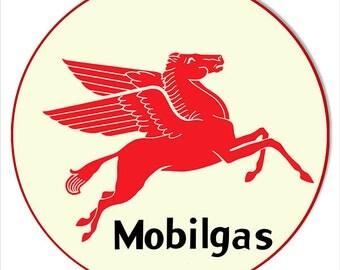 Mobilgas Pegasus Sign,  Vintage Style Aluminum Metal Sign, 2 Sizes Available, USA Made Vintage Style Retro Garage Art