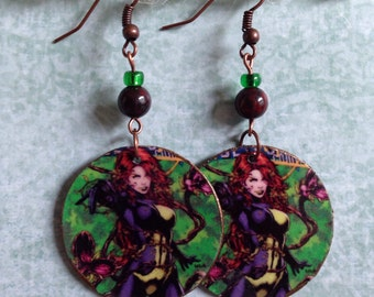 Up-cycled Poison Ivy Comic Earrings, decoupage earrings