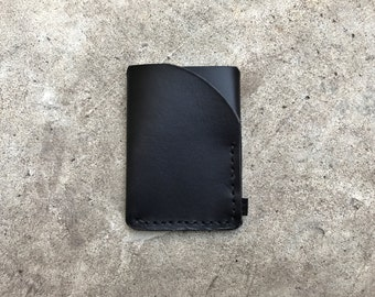 Trifold leather wallet in stealth black