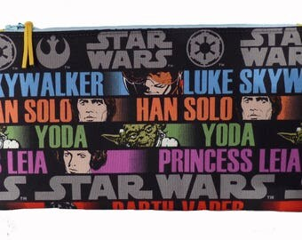 Star Wars Multi Purpose Pouch, Makeup Bag, Gadget Bag, Pencil Case, Luke Skywalker Hans Solo Princess Leia Darth Vader Yoda Obi Wan Kenobi